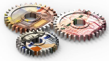 Linked gear with a dollar, euro and pound sign money. 3D illustration. Stock Photo