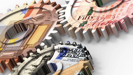 credit crunch: Linked gear with a dollar, euro and pound sign money. 3D illustration. Stock Photo