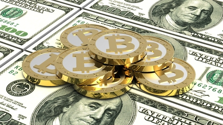 Stack of bitcoins with dollar bills. 3D illustration.