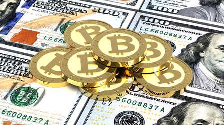 net trade: Stack of bitcoins with dollar bills. 3D illustration.