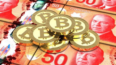 canadian coin: Stack of bitcoins with Canadian dollar bills. 3D illustration. Stock Photo
