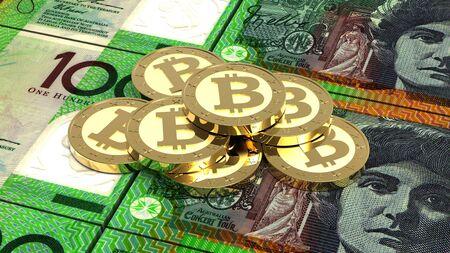 dollar bills: Stack of bitcoins with Australian dollar bills. 3D illustration.