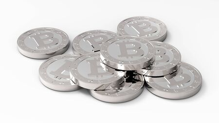 net trade: Stack of bitcoins isolated on white. 3D illustration.