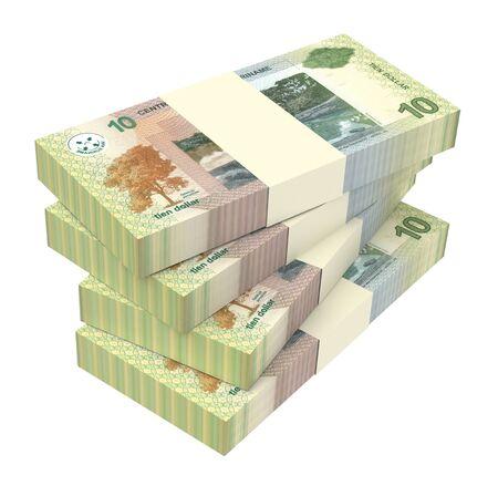dollar bills: Surinamese dollar bills stack isolated on white background. 3D illustration.