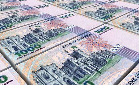 shilling: Tanzanian shilling bills stacks background. 3D illustration. Stock Photo