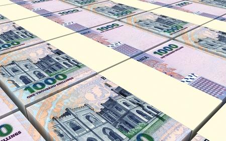 packaged: Tanzanian shilling bills stacks background. 3D illustration. Stock Photo