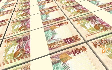 solomon: Solomon Islands dollars bills stacks background. 3D illustration.