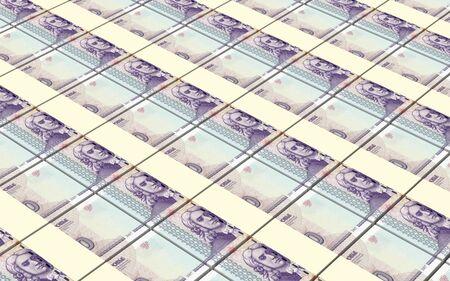 papermoney: Transnistrian ruble bills stacks background. 3D illustration.