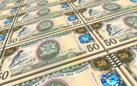 tobago: Trinidad and Tobago dollar bills stacks background. 3D illustration. Stock Photo