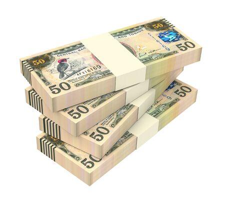 batch of dollars: Trinidad and Tobago dollar bills isolated on white background. 3D illustration. Stock Photo
