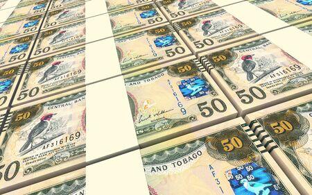 dollar bills: Trinidad and Tobago dollar bills stacks background. 3D illustration. Stock Photo