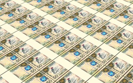 prespective: Trinidad and Tobago dollar bills stacks background. 3D illustration. Stock Photo
