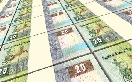 bills: Egyptian pounds bills stacks background. 3D illustration. Stock Photo