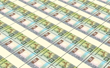 arabic currency: Egyptian pounds bills stacks background. 3D illustration. Stock Photo