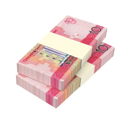 papermoney: Turkmenistan manat bills stack isolated on white background. 3D illustration.