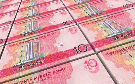 papermoney: Turkmenistan manat bills stacks background. 3D illustration.