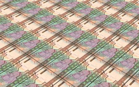 papermoney: Turkmenistan money bills stacks background. 3D illustration. Stock Photo