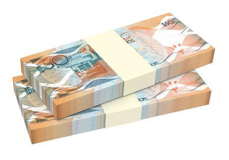 barbadian: Barbadian dollar bills isolated on white background. 3D illustration. Stock Photo