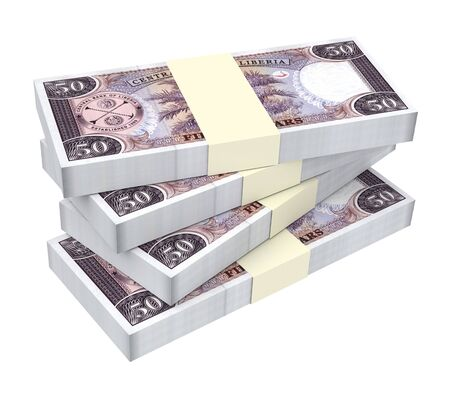 dollar bills: Liberian dollar bills isolated on white background. 3D illustration. Stock Photo
