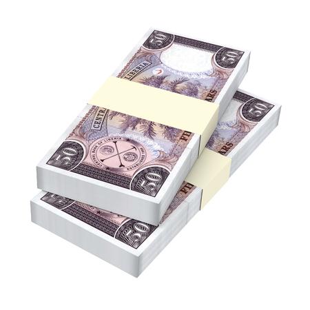 batch of dollars: Liberian dollar bills isolated on white background. 3D illustration. Stock Photo