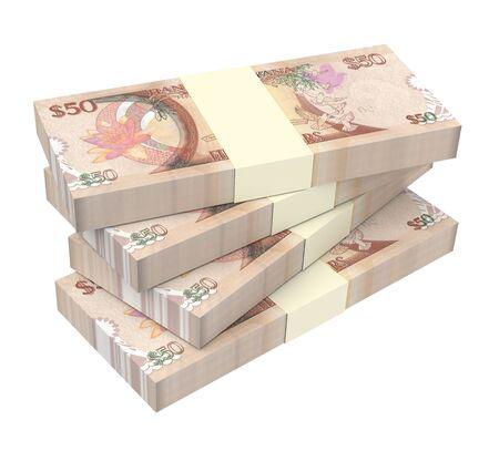 guyanese: Guyanese dollar dollar bills isolated on white background. 3D illustration.