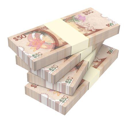 dollar bills: Guyanese dollar dollar bills isolated on white background. 3D illustration.