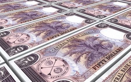 dollar bills: Liberian dollar bills stacks background. 3D illustration. Stock Photo