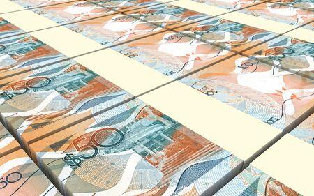 barbadian: Barbadian dollar bills stacks background. 3D illustration. Stock Photo