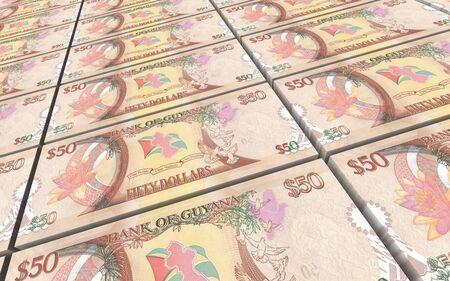 dollar bills: Guyanese dollar dollar bills stacks background. 3D illustration. Stock Photo