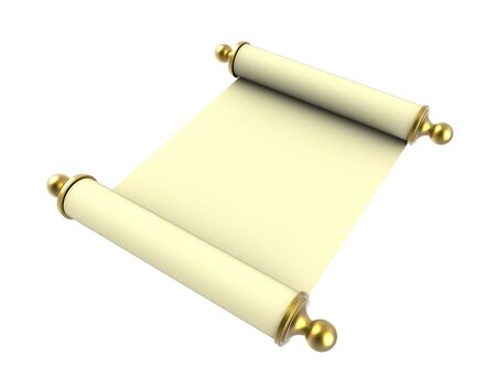 handles: Scroll paper with golden handles isolated on white background. 3D illustration. Stock Photo