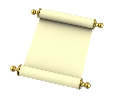 Scroll paper with golden handles isolated on white background. 3D illustration. Stock Photo