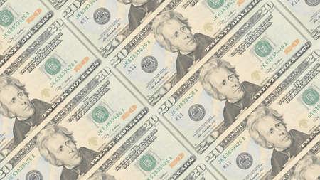 bills: American dollar bills stacks background. 3D illustration.