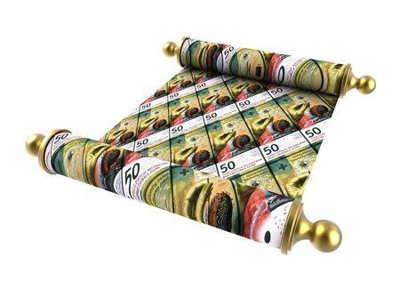 swiss roll: Scroll paper with Swiss franc bills overprint. 3D illustration.