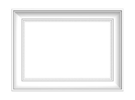 white picture frame: White picture frame isolated on white background. 3D illustration. Stock Photo