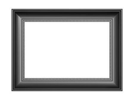 rectangular: Black picture frame isolated on white background. 3D illustration.