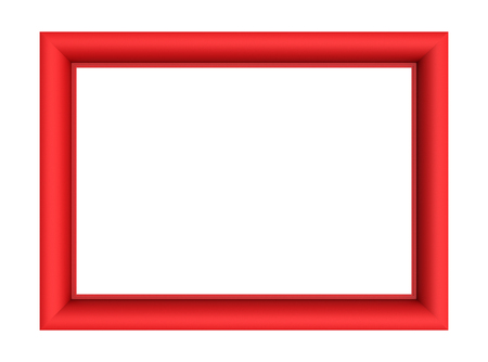 bordering: Red picture frame isolated on white background. 3D illustration. Stock Photo