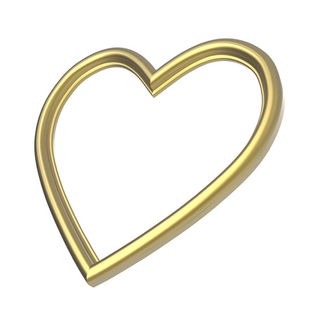 pictureframe: Golden heart picture frame isolated on white. 3D illustration.