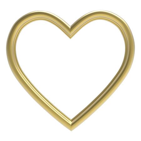 Gouden hart fotolijst geïsoleerd op wit. 3D-afbeelding. Stockfoto