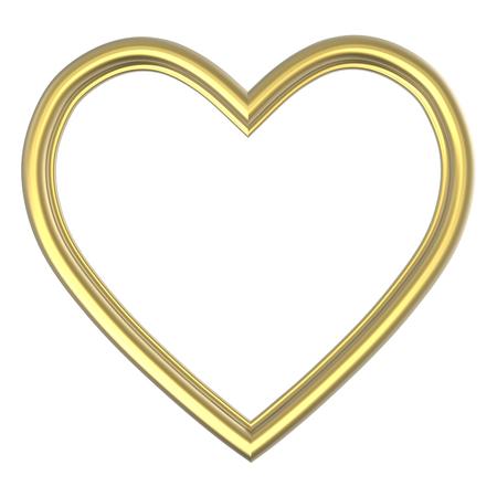 Goldenes Herz Bilderrahmen isoliert auf weiß. 3D-Darstellung.