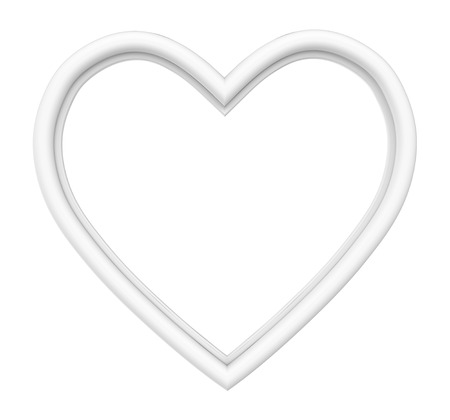 pictureframe: White heart picture frame isolated on white. 3D illustration.