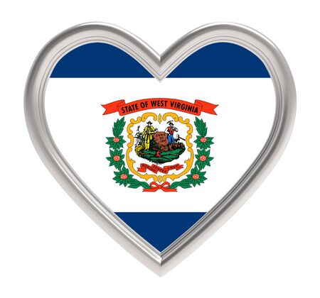 3d virginia: West Virginia flag in silver heart isolated on white background. 3D illustration.