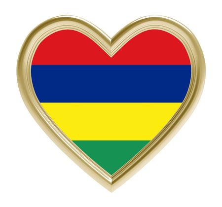 golden heart: Mauritius flag in golden heart isolated on white background. 3D illustration.