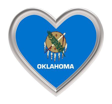 golden heart: Oklahoma flag in golden heart isolated on white background. 3D illustration.