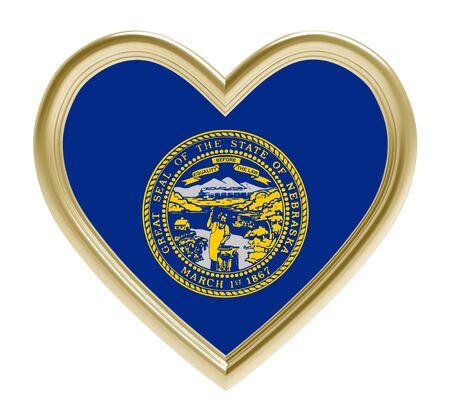 golden heart: Nebraska flag in golden heart isolated on white background. 3D illustration.