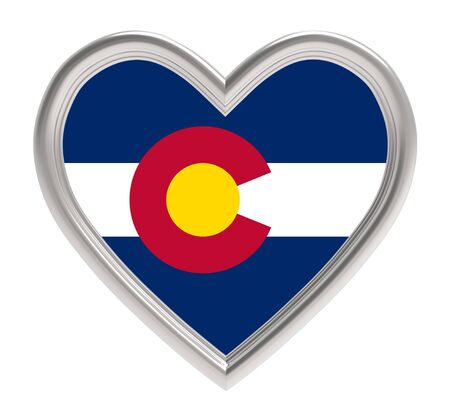 flag of colorado: Colorado flag in silver heart isolated on white background. 3D illustration.