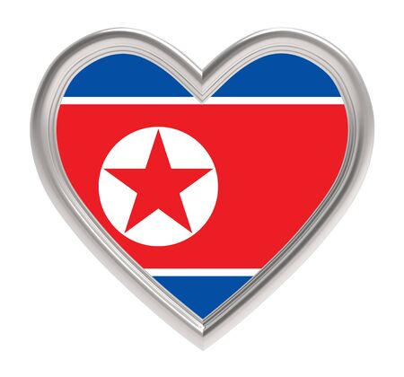 North Korean flag in silver heart isolated on white background. 3D illustration.