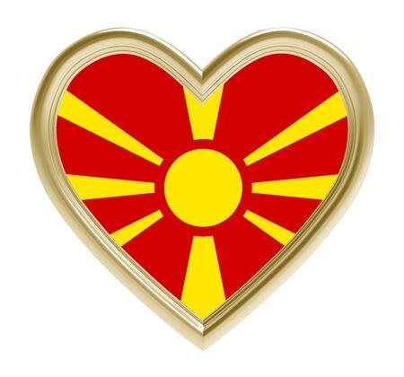 Macedonian flag in golden heart isolated on white background. 3D illustration. Stock Photo
