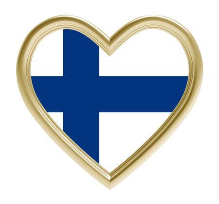 Finland flag in golden heart isolated on white background. 3D illustration.