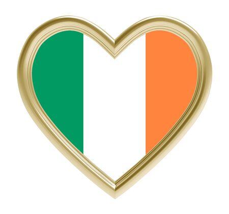 golden heart: Ireland flag in golden heart isolated on white background. 3D illustration. Stock Photo