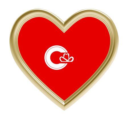golden heart: Calgary flag in golden heart isolated on white background. 3D illustration.